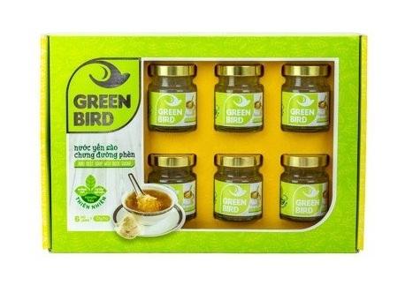 NUTRINEST - Hộp yến 6 lọ GREEN BIRD yến chưng đường phèn organic